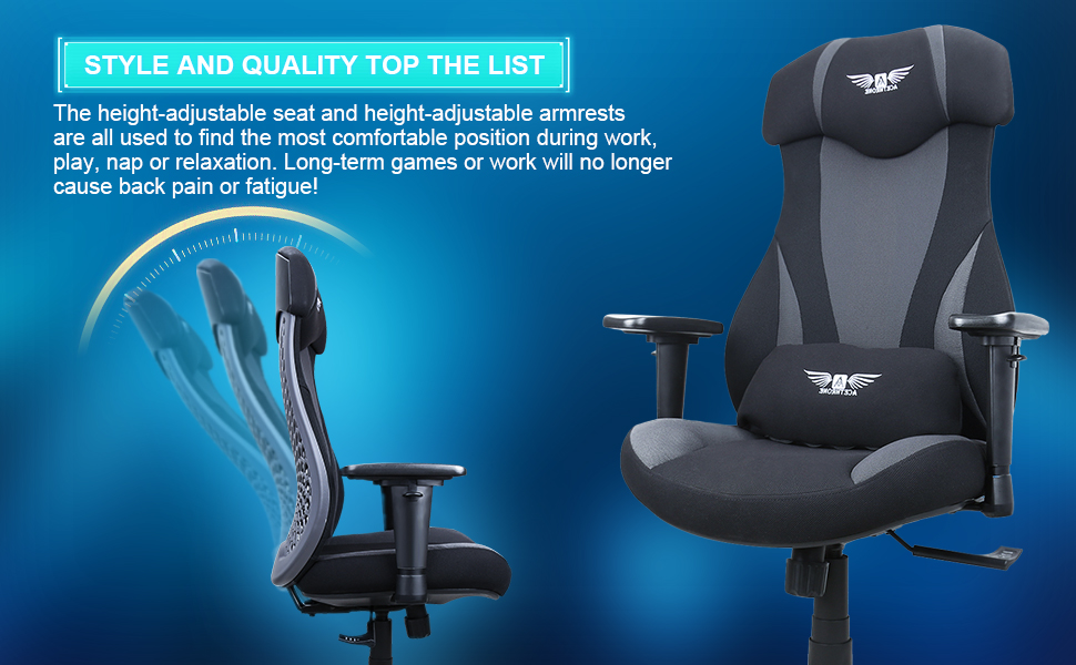 Our game chair is equipped with an adjustable lumbar pillow