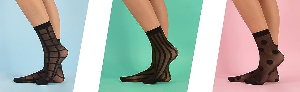 Calzini donna 20 den, calzini, calze donna velate, calzini a quadri, calzini a righe, calzini a pois
