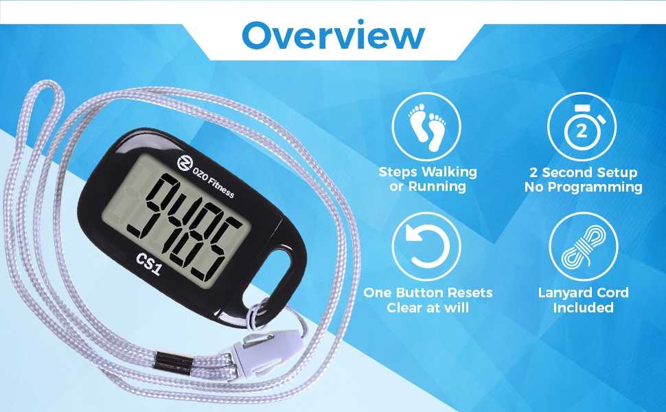 easy pedometer for walking step counter step meter step monitor step tracker ozo fitness read use