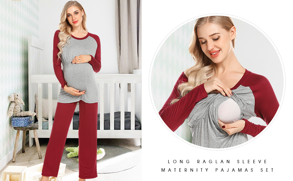 Women Ultra Soft Maternity & Nursing Pajama Set Pregnancy Sleepwear