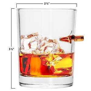 308 bullet whiskey rock glass