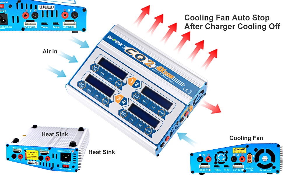 lipo life lihv nicd nimh pb rc charger with heat sink cooling fan