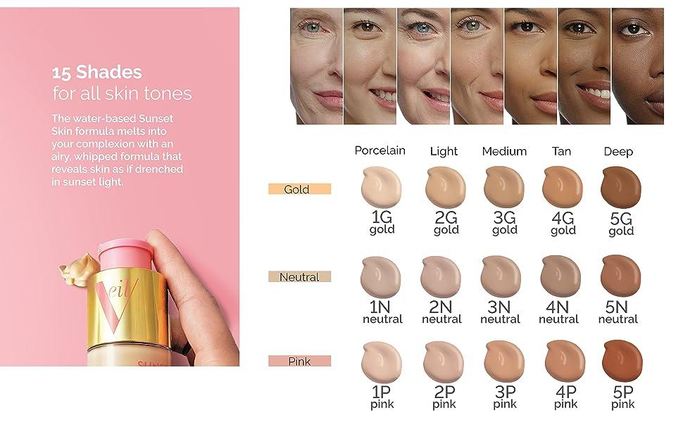 veil, makeup, lightweight, sunset skin, 15 shades, airy formula