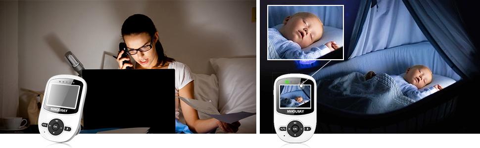 NWOUIIAY Baby Monitor Wireless Baby phone Digital Audio con Fotocamera Digitale Visione Notturna Monitoraggio della Sensore di Temperatura Espandibilità Multi-camera (non Incluse) LCD Display 2.4 GHz
