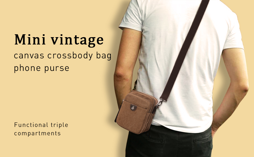 Vintage Canvas Small Crossbody Bag Multi-Pocket Wallet
