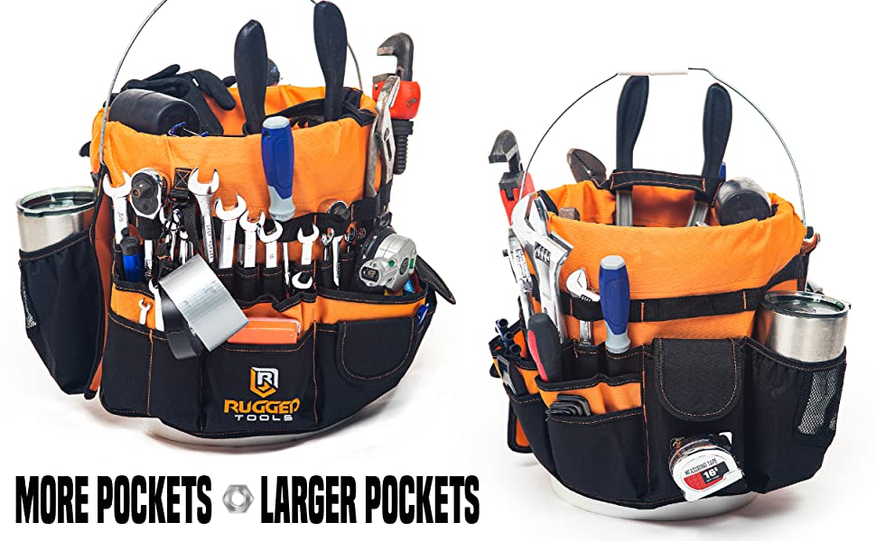 Rugged Tools Malone Tool Bucket organizer Buddy with more pockets and larger pockets