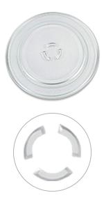 Assiette en verre de 325 mm de diamètre pour micro-ondes.