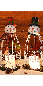 Christmas Snowman LED Candle Lantern Lights, 2 Pack