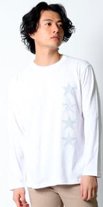 (リアルコンテンツ)REAL CONTENTS 星柄 ロンt tシャツ メンズ 大きいサイズ ティシャツ 長袖Tシャツ ブランド スター ロゴ logo ストリート ロング tシャツ rclt1255