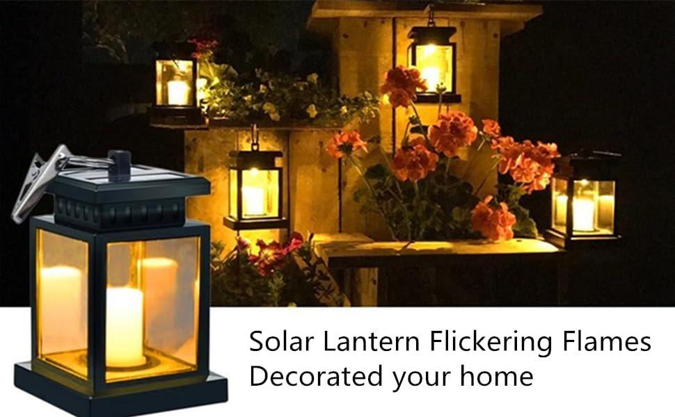 bombilla Edison resistente al agua farol solar de jard/ín l/ámpara solar colgante para exterior decoraci/ón de jard/ín Farolillos solares para exterior color blanco metal