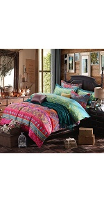 YOUSA 3Pcs Colorful Boho Bedding Set Bohemian Duvet Covers