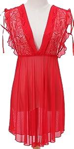 bridal sexy sheer babydoll night dress lace sleepwear lingerie set transparent nightgown cotton pj