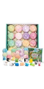 Bath Bombs for Kids with Animal Figures