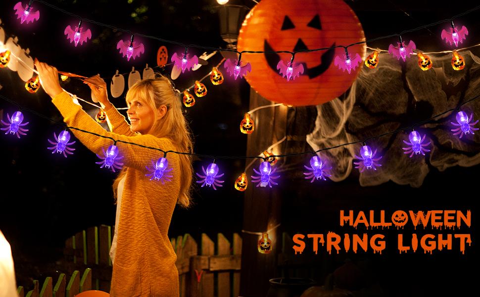 decoración de luces de cadena de halloween