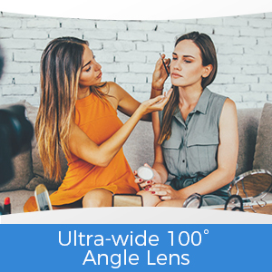 Ultra-wide 100° angle lens. Great for video chatting and video conferencing.