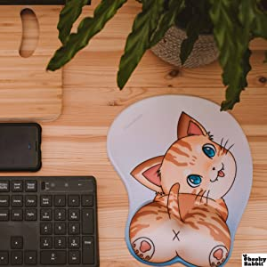 Anime cat mouse pad with wrist support good for gaming and working