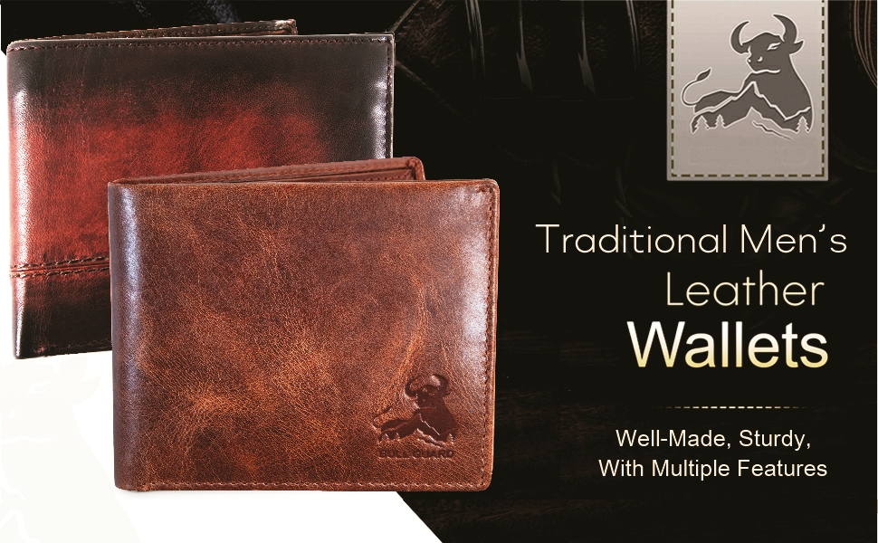 rfid bifold wallet for men genuine leather billfold cowboy rodeo brown outdoors classic high
