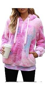 tie dye sherpa pullover