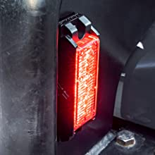 1pc White 3W NanoFlare Light Head showing mounted on a push bar.