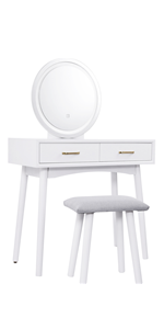 White Vanity Desk with Lghted Mirror
