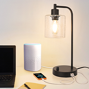 2 usb table lamp, table lamps with dual usb charging ports for phone charging