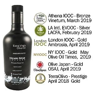 henri mor, private reserve, awards, gold, silver, extra virgin, olive oil