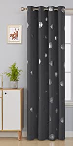 grey printed blackout curtains