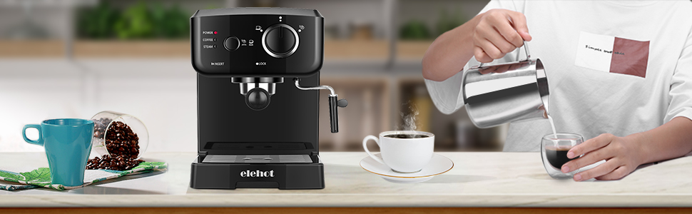 Cafetera Express Cafetera Espresso de Bomba Automática con Boquilla de Espuma de Leche Profesional Presión 15 Bares Capacidad 1.25L para café ...