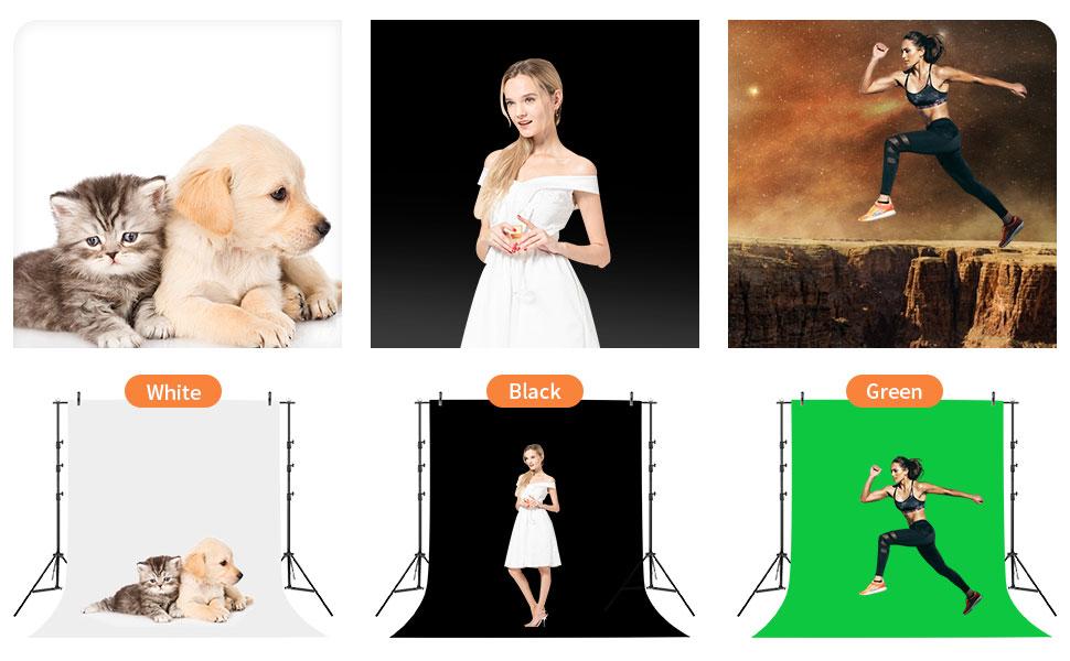 6 X 9ft/1.8 X 2.8M 背景(白、黑、绿屏)用于人像产品、摄影