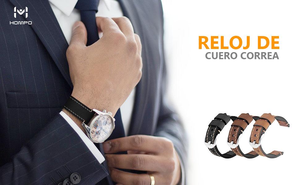 Correa Reloj 24mm HOMPO Reemplazo de Reloj de Cuero Genuino Correa ...