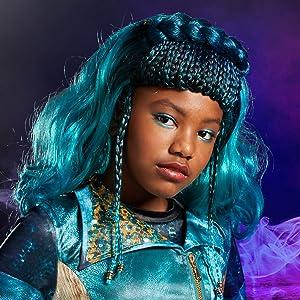 uma costume closeup, accessories, blue wig, bright turquoise, descendants 3, colorful patterns