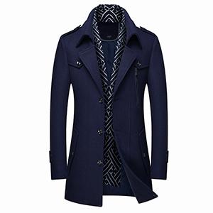 FAXIKIO Mens Slim Fit Top Coat Trench Wool Blend Overcoat Knee Length Winter Jacket