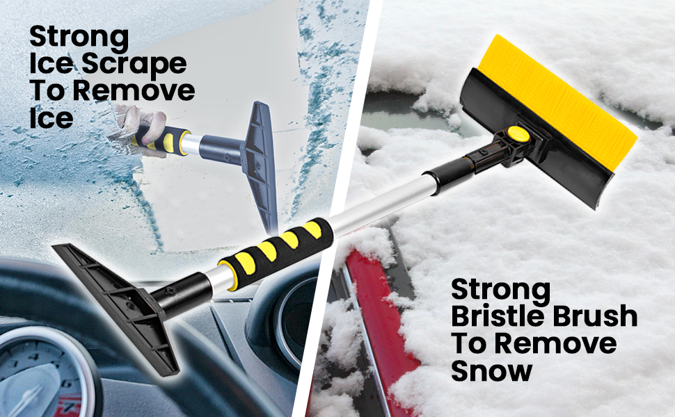 Pivoting Head Zento Deals Car Window Extendable Snow Brush and Ice Scraper Sturdy Scraper with Expandable Cushion Foam Handle Aluminum Design Perfect for Winter Premium Quality