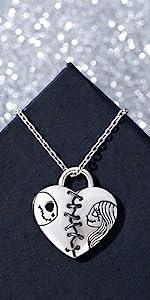 jeulia 925 silver jack and sally necklace halloween jewelry