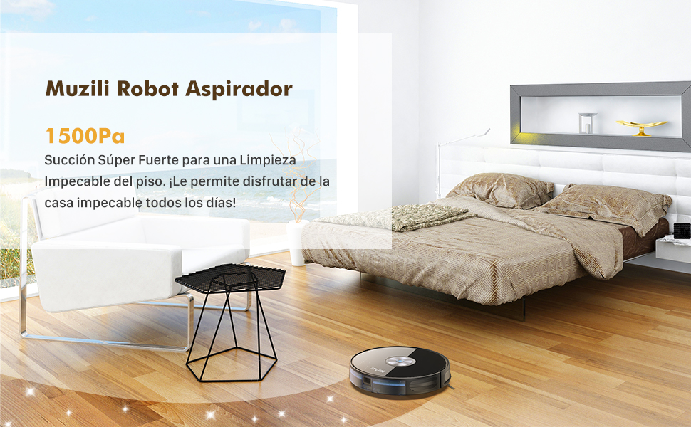 Muzili Robot Aspirador, Succión Potente de 1500 Pa, 7cm Súper Delgado, Silencioso, Aspirador Autocargante con 6 Modos de Limpieza para Pelo de Mascotas, Alfombras y Pisos Duros: Amazon.es: Hogar