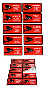 ecurity Camera Decal Warning Window Stickers, CCTV Video Surveillance Recording Signs Vinyl