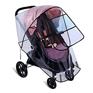 Baby Stroller Rain Cover Double Long Zipper Baby Stroller Cover Windproof,Spray-Proof,Dust-Proof and UV-Proof with Mosquito Net(Black-M)