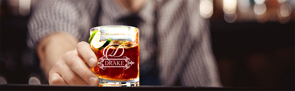 etched whiskey glasses personalized monogrammed glass custom rock engraved bourbon scotch rocks