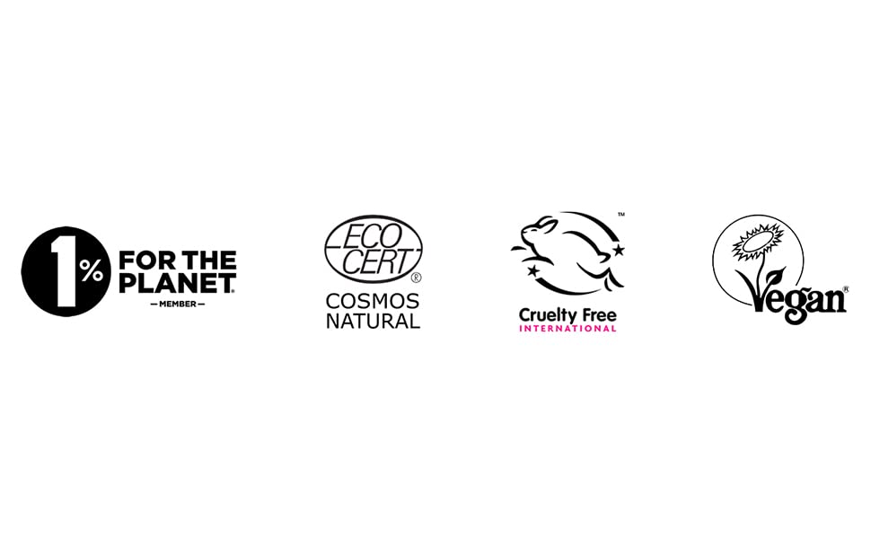 1% for the planet member, Ecocert Cosmos Natural, vegan society, cruelty free