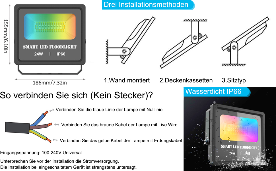 Gartenstrahler Kompatibel mit Smart Phone Gesteuert 24W Bluetooth Smart LED Strahler RGBW+CCT 5 in 1 Farben,Dimmbar 230V,Au/ßenstrahler IP66 Wasserdicht LED Fluter Farbewechsel 16 Mio