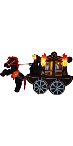 12 ft Long Carriage Halloween Inflatable