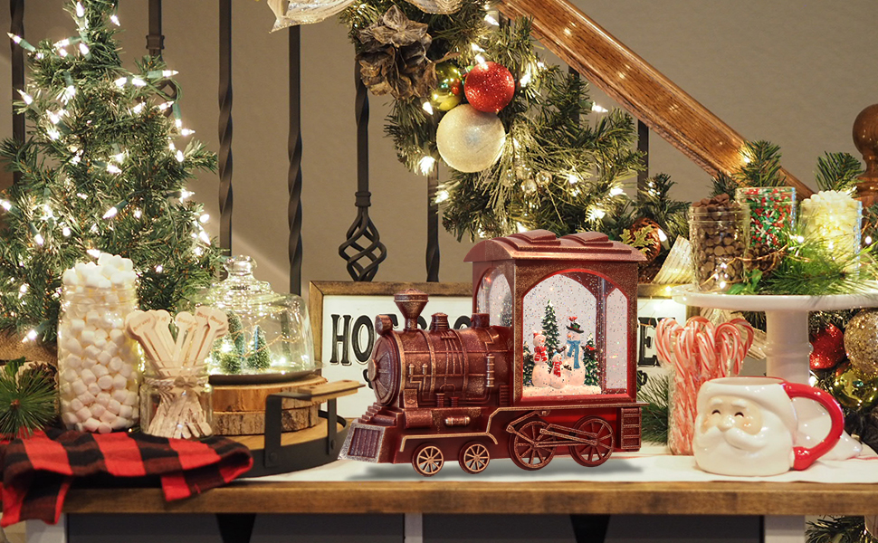 Christmas Train Snow Globe with Music & Timer, Lighted-up Battery Operated Glittering Lantern