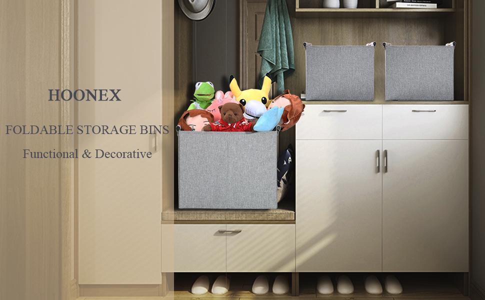 storage bins with wooden handles