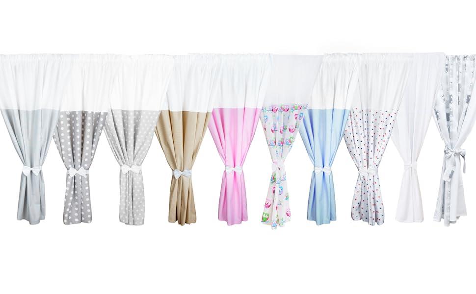 140 x 160 cm c TupTam Cortinas Transparente para Habitaci/ón Infantil 2 pzs Puntos Blanco//Rosa
