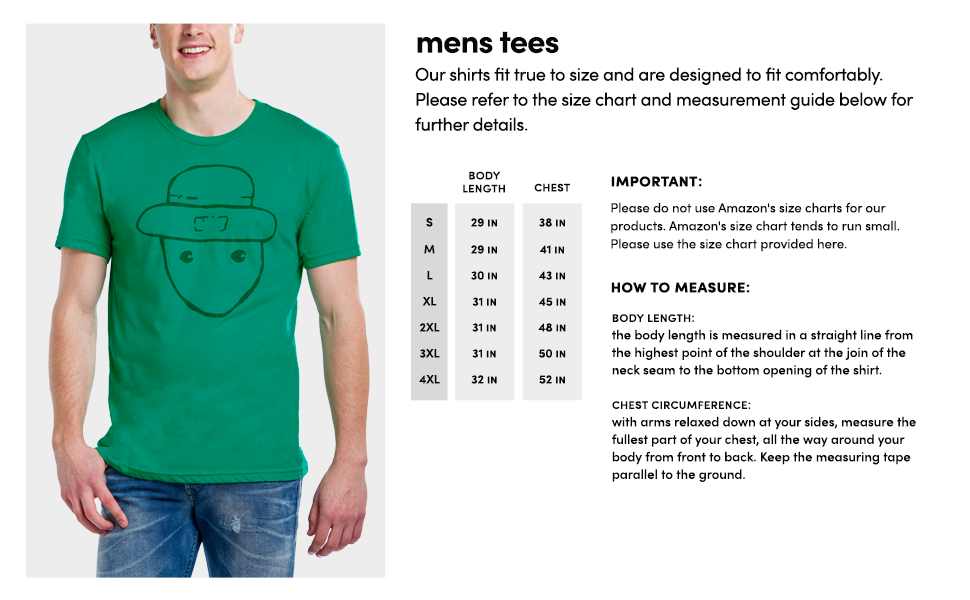 Model Size Chart Photo Soft Shirt Dimensions