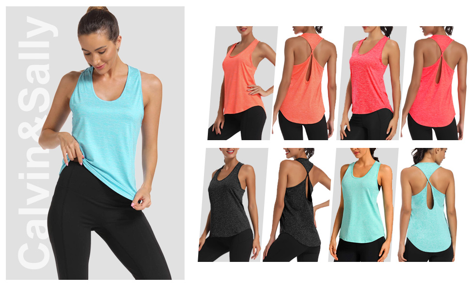 YINI Femmes Yoga Tops Running Shirts Fitness Vest Sports Training Tank Top Workout S/échage Rapide Tops