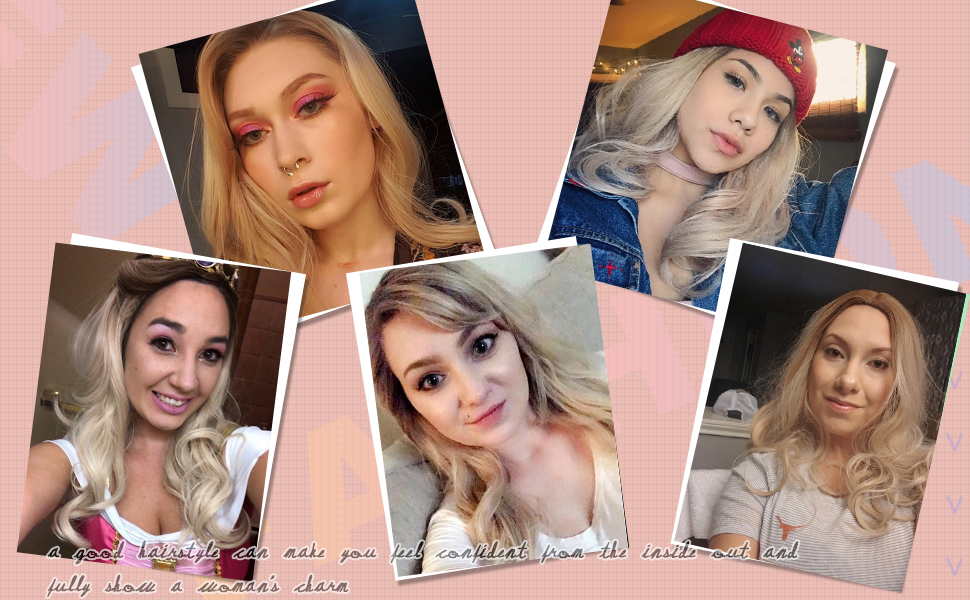 long wave ombre ash blonde wig cancer blonde wig natural curly hair wigs for women mixed color wig