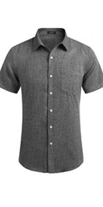 Men's Casual Linen Button Down Shirt Business Chambray Dress Shirt