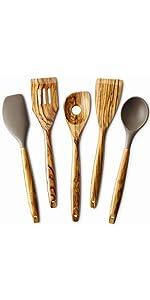 5 Piece Olive Wood Kitchen Cooking Utensils