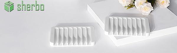 Soap Dish Holder Bathroom Sink Shower Kitchen Dispenser White